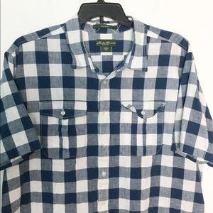 Eddie Bauer XXLT Button Front Shirt Plaid Navy EUC